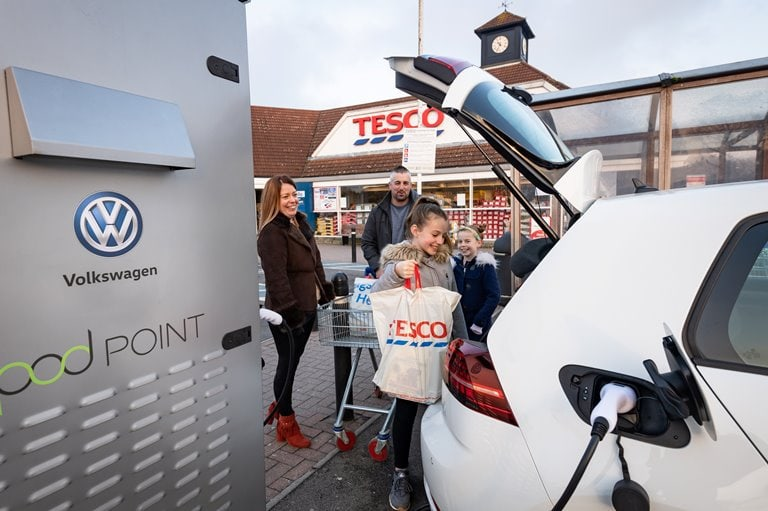 VW and Tesco launch electric charging bays with Pod Point initiative