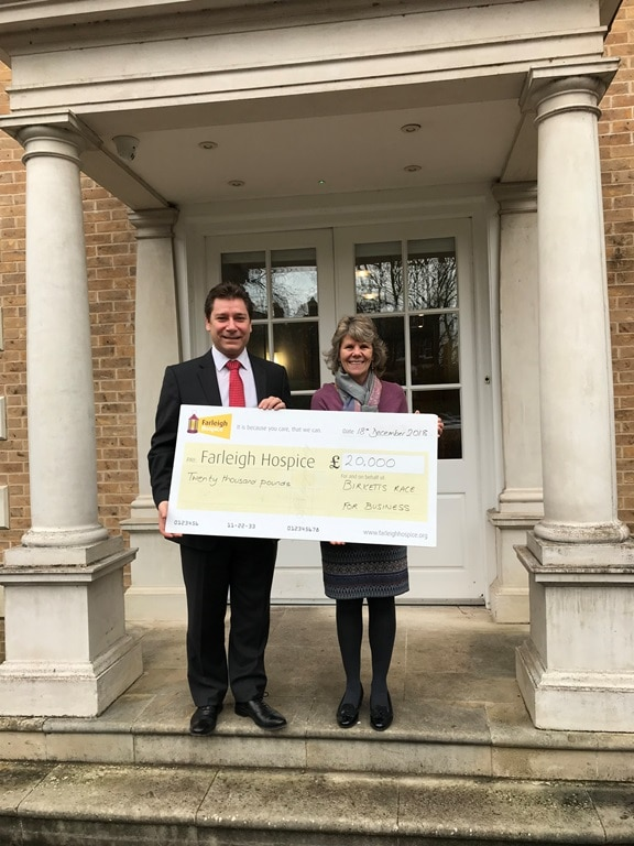 Birketts presents Farleigh Hospice with £20K cheque
